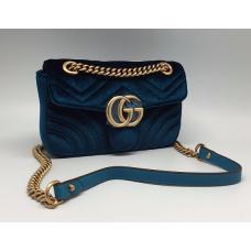 Женская бархатная сумка Gucci синий