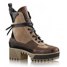 Женские высокие кожаные ботинки на платформе Louis Vuitton Laureate Broun коричневые
