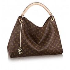 Женская брендовая кожаная сумка Louis Vuitton Artsy Broun MM