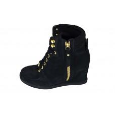 Женские высокие черные кроссовки Louis Vuitton Millenium Black на Танкетке