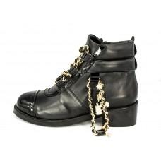 Женские ботинки Chanel High Black L с браслетом