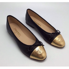 Женские брендовые балетки Chanel Low Black/Gold