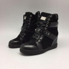 Женские осенние высокие кроссовки Philipp Plein Anniston черные