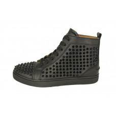 Мужские высокие осенние кроссовки Christian Louboutin черные