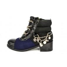 Женские ботинки Chanel High Black/Blue
