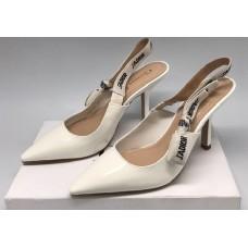 Женские лаковые кожаные туфли Christian Dior белые с открытой пяткой