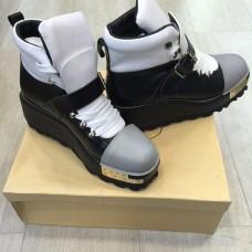 Женские ботинки Prada BlackWhite Gold