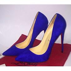 Женские замшевые синие туфли Christian Louboutin Pigalle Blue
