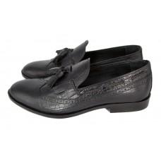 Мужские кожаные летние туфли Gucci черные