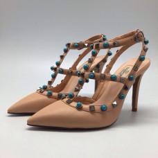 Женские бежевые летние туфли Valentino Garavani Rockstud