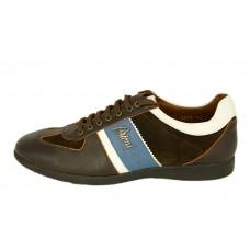 Мужские кожаные летние кроссовки Brioni коричневые с синим