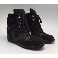 Женские высокие осенние кроссовки Louis Vuitton Millenium черные на Танкетке