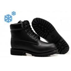 Зимние ботинки Timberland Classic Black Leather с мехом