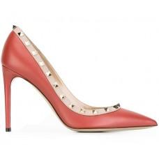 Женские кожаные летние туфли Valentino Garavani Rockstud красные