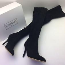 Женские замшевые брендовые ботфорты Balmain черные