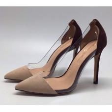 Женские замшевые летние туфли Gianvito Rossi Plexi бежевые с черным